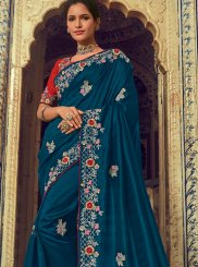 Traditional Saree Embroidered Georgette in Blue