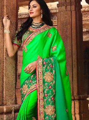 Traditional Saree Embroidered Silk in Green