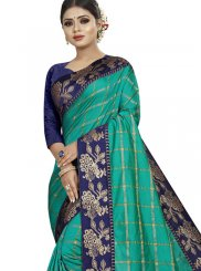 Traditional Saree Patch Border Art Silk in Sea Green