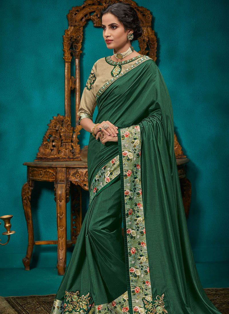 Traditional Saree Patch Border Poly Silk in Green