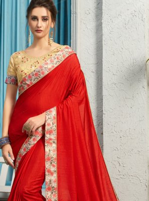Traditional Saree Patch Border Poly Silk in Red