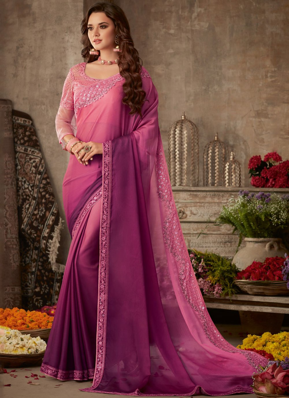Traditional Saree Patch Border Silk in Maroon and Pink