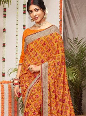 Traditional Saree Printed Faux Georgette in Multi Colour