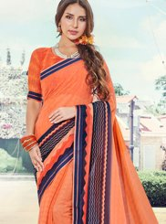 Traditional Saree Printed Faux Georgette in Orange
