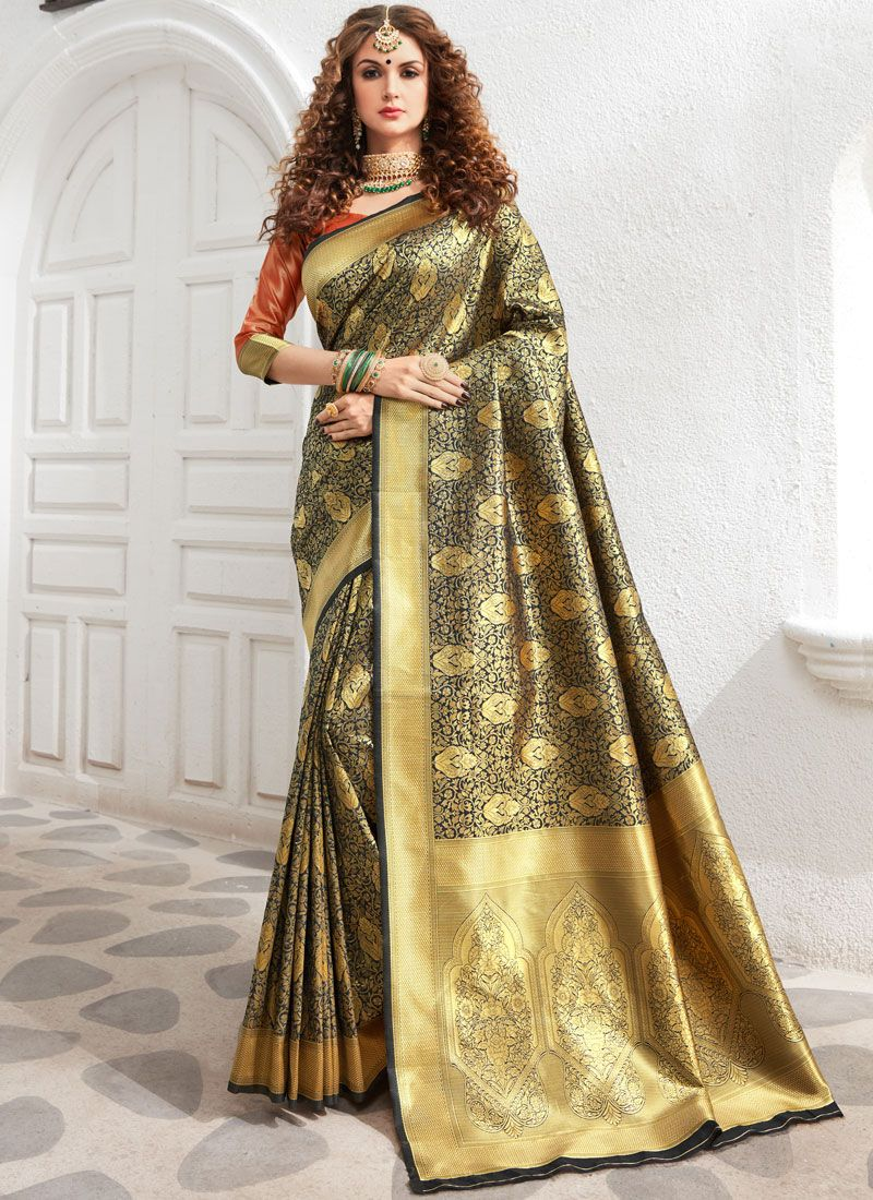 Traditional Saree Weaving Art Silk in Black