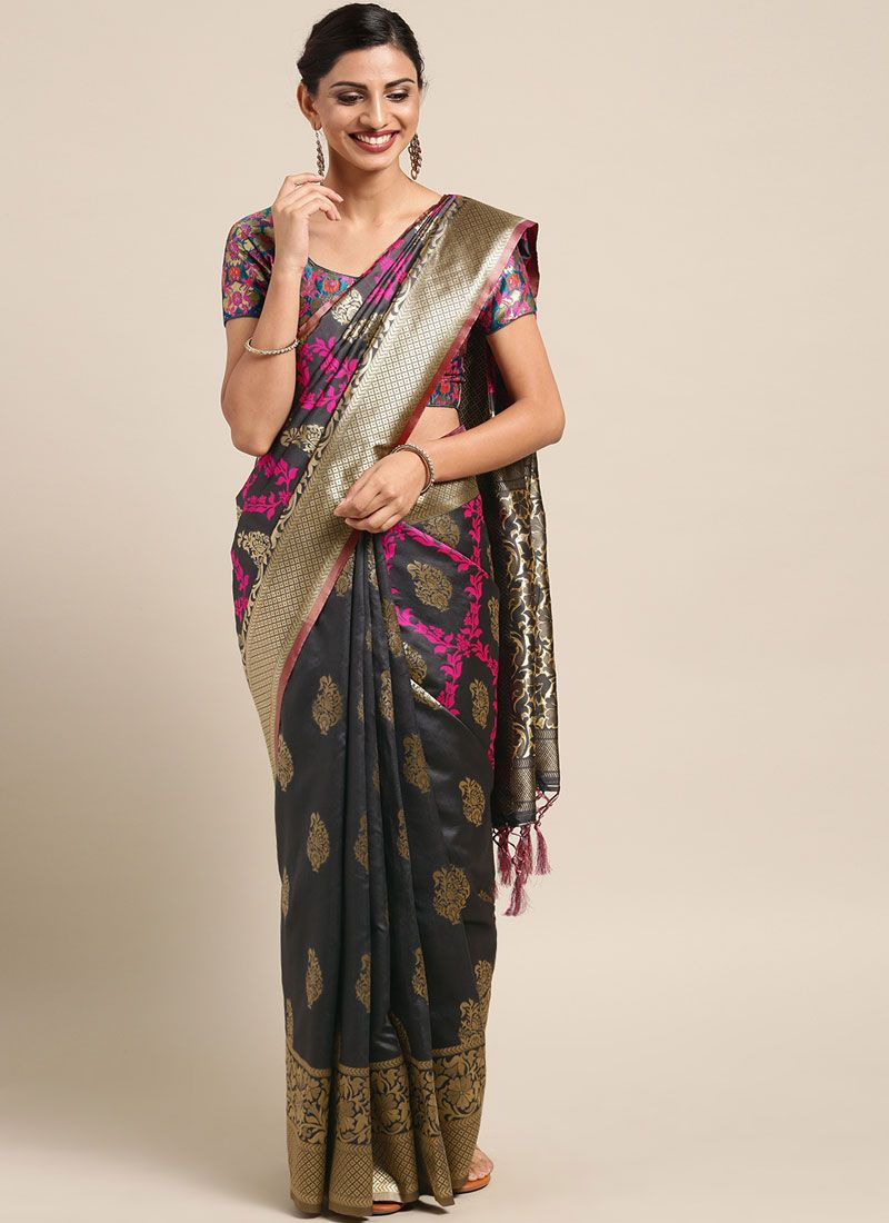 Traditional Saree Weaving Art Silk in Grey