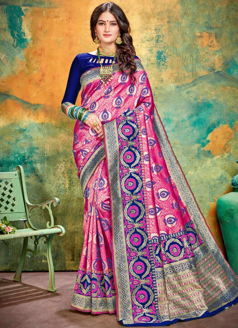 Traditional Saree Weaving Art Silk in Pink