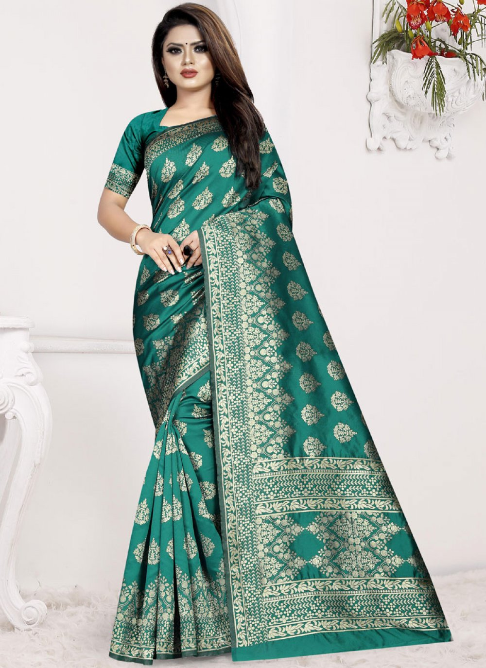 Traditional Saree Weaving Art Silk in Sea Green