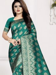 Traditional Saree Weaving Art Silk in Sea Green