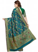 Traditional Saree Weaving Art Silk in Teal