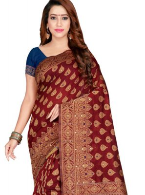 Traditional Saree Weaving Banarasi Silk in Maroon