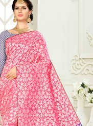 Traditional Saree Weaving Banarasi Silk in Pink