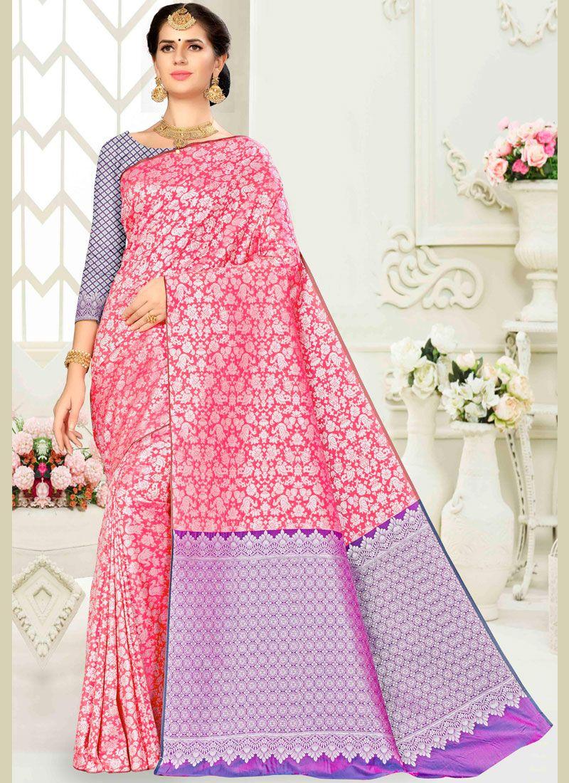 Traditional Saree Weaving Banarasi Silk in Pink
