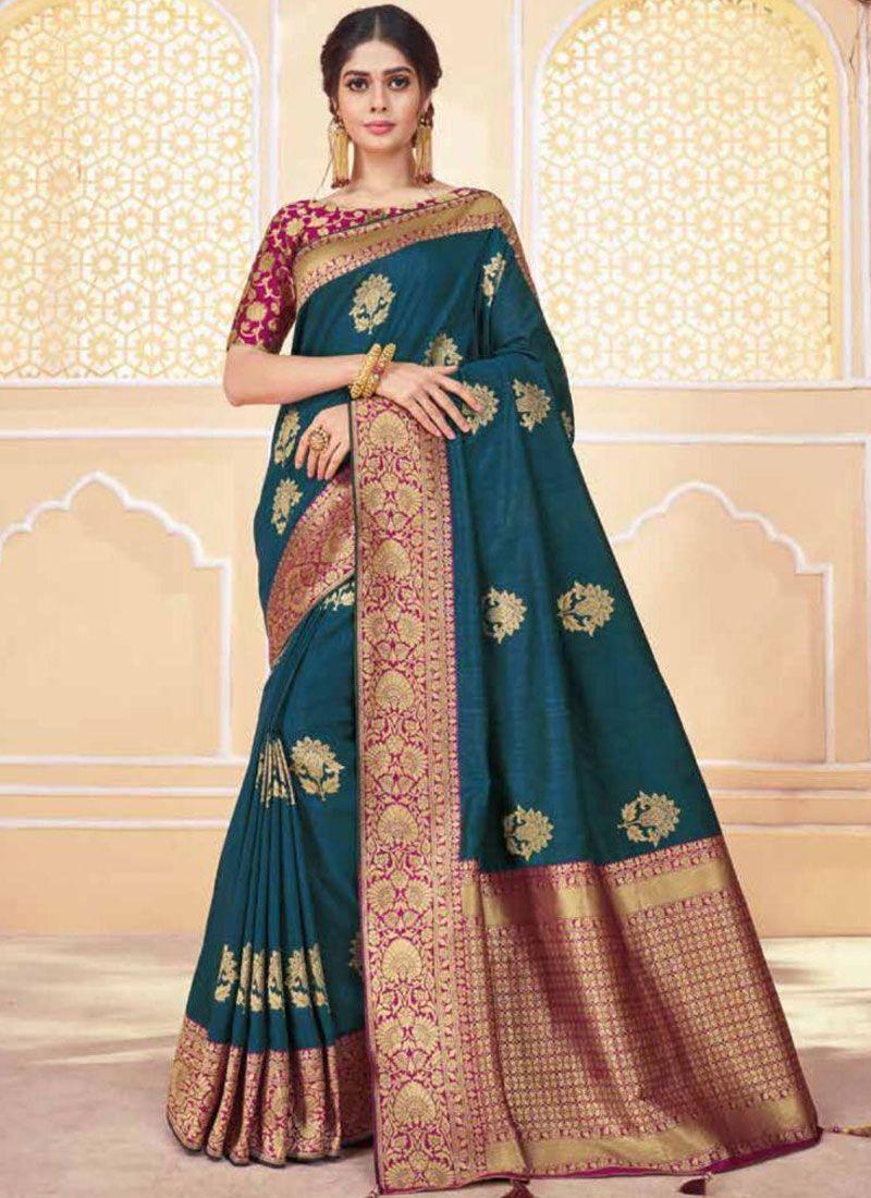Traditional Saree Weaving Banarasi Silk in Teal