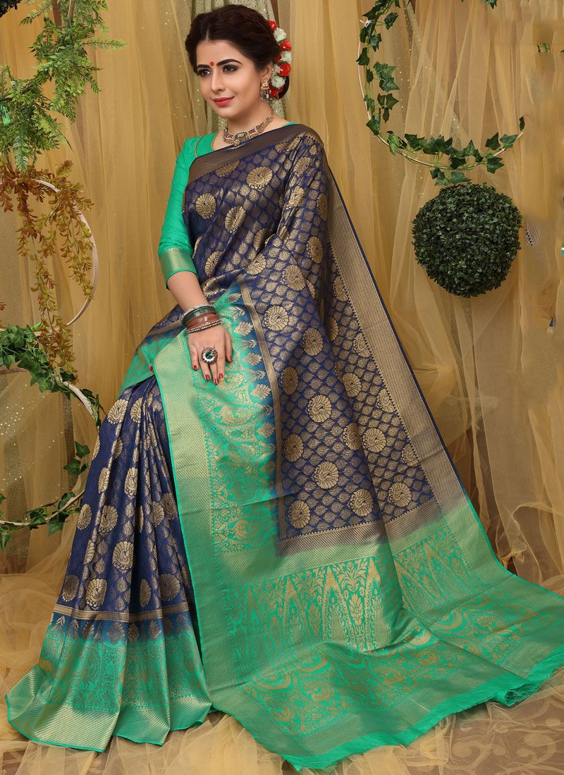 Traditional Saree Weaving Fancy Fabric in Navy Blue
