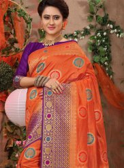 Traditional Saree Weaving Fancy Fabric in Orange