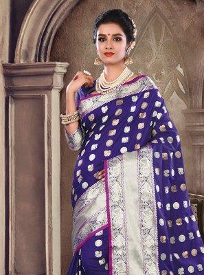Traditional Saree Weaving Satin Silk in Blue