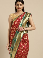 Traditional Saree Weaving Tussar Silk in Red