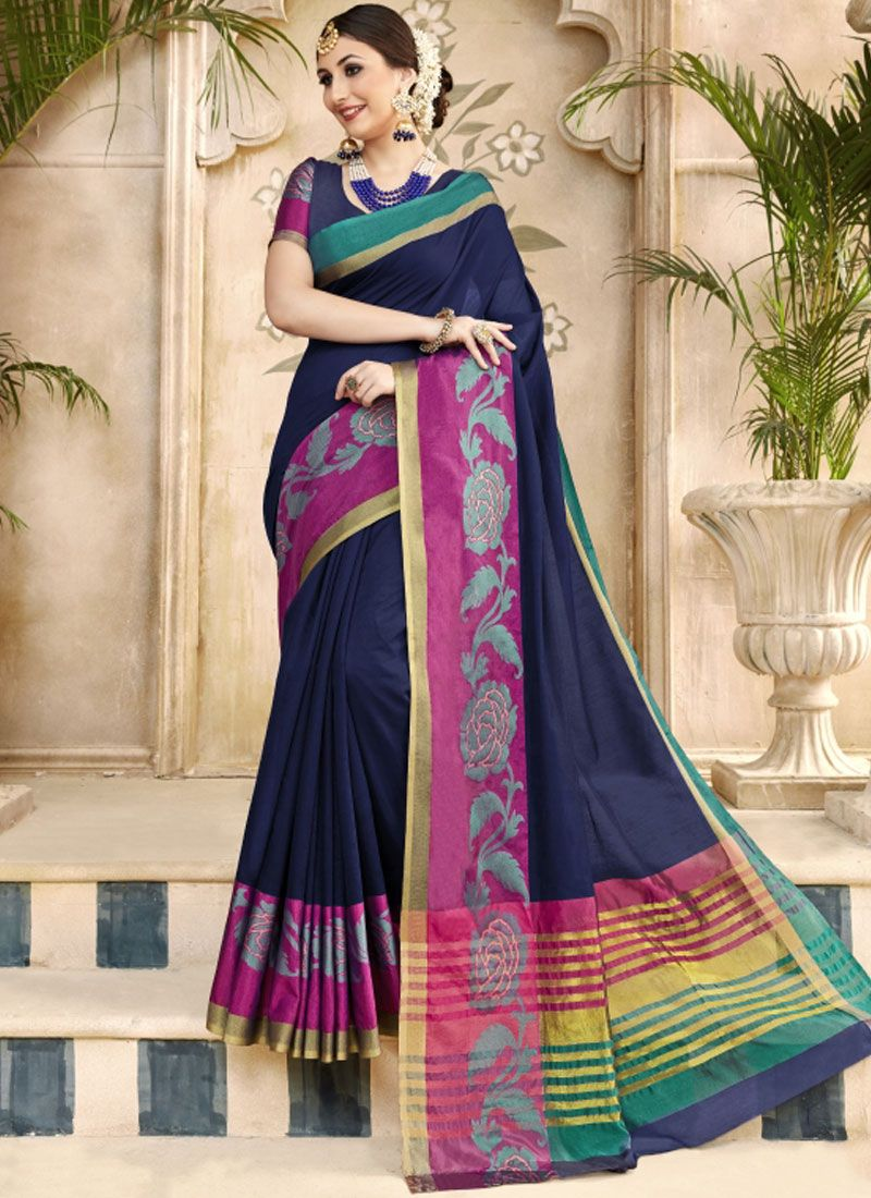 Traditional Saree Woven Art Silk in Blue