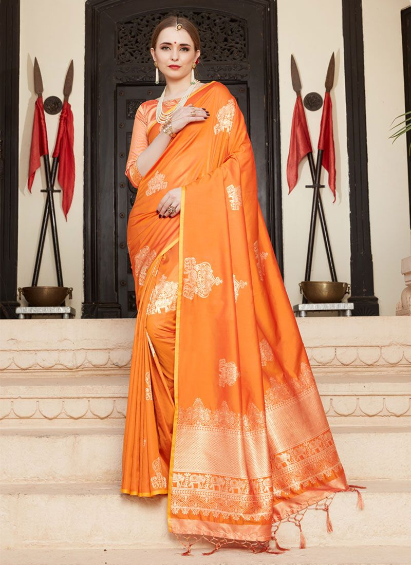 Traditional Saree Woven Art Silk in Orange