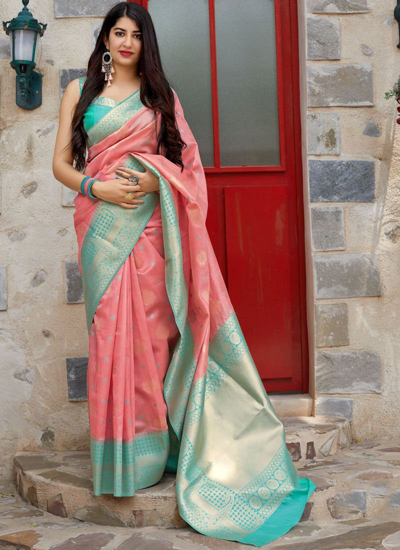 Traditional Saree Woven Art Silk in Pink