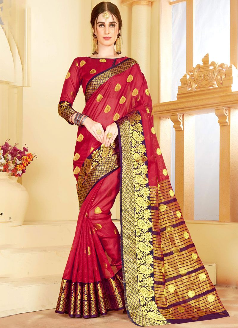 Traditional Saree Woven Chanderi in Red