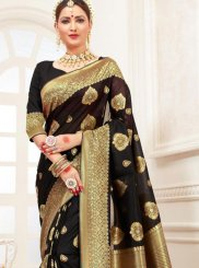 Traditional Saree Woven Cotton Silk in Black