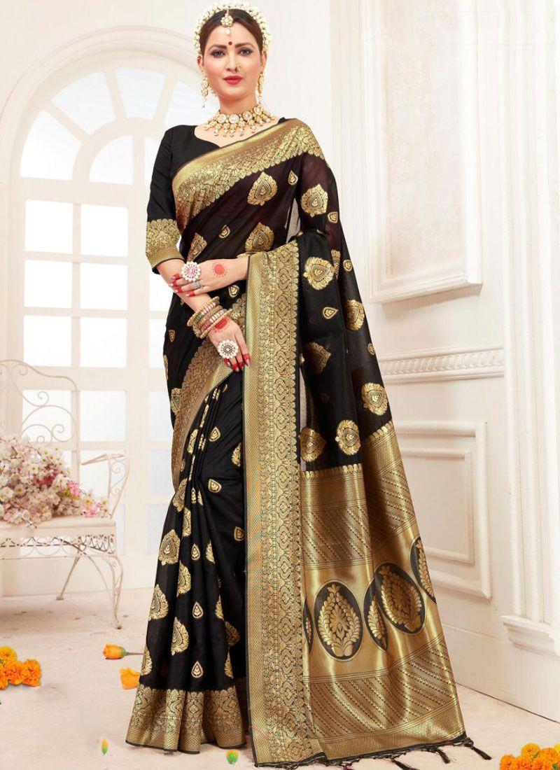Traditional Saree Woven Cotton Silk in Black