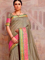 Traditional Saree Woven Cotton Silk in Grey