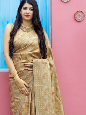 Tunchui Boota Cream Weaving Traditional Saree