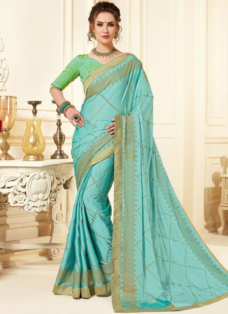 Turquoise Abstract Print Festival Printed Saree