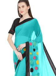 Turquoise Abstract Print Printed Saree