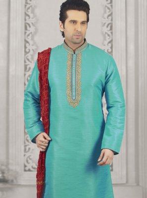 Turquoise Art Banarasi Silk Kurta Pyjama