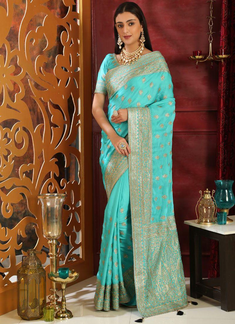 Turquoise Art Silk Wedding Classic Saree
