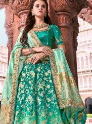 Turquoise Banarasi Silk A Line Lehenga Choli