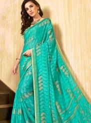 Turquoise Casual Faux Chiffon Printed Saree
