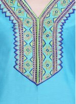 Turquoise Ceremonial Cotton Silk Readymade Salwar Suit