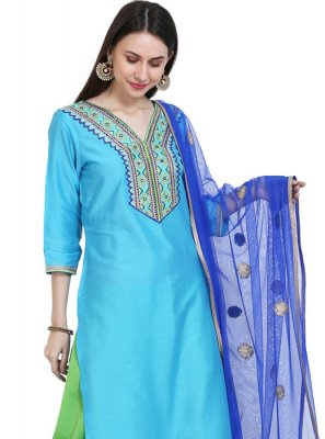 Turquoise Ceremonial Cotton Silk Readymade Salwar Suit