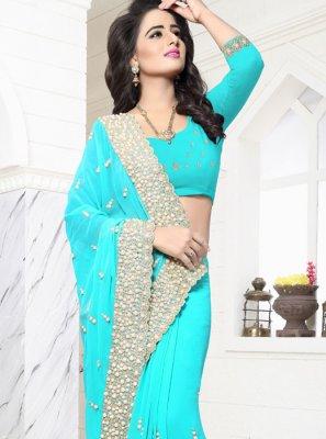 Turquoise Classic Saree