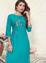Turquoise Color Casual Kurti