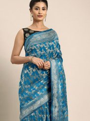 Turquoise Color Classic Saree