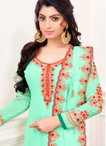 Turquoise Cotton Embroidered Churidar Salwar Suit