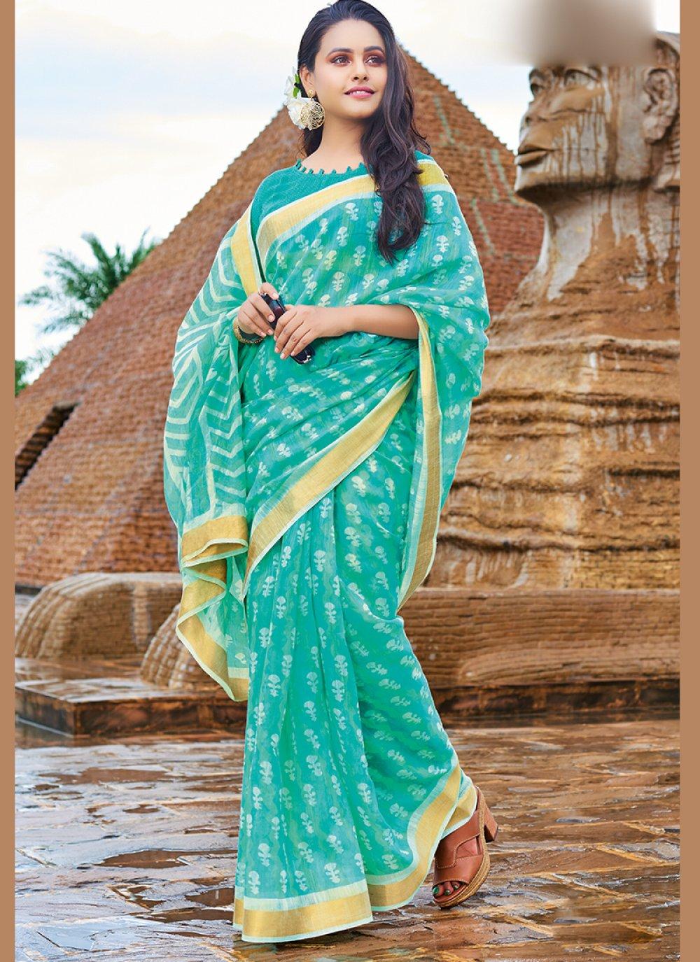 Turquoise Cotton Printed Saree