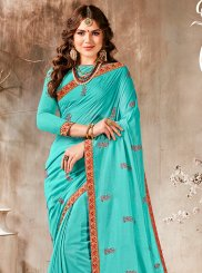 Turquoise Embroidered Faux Georgette Classic Designer Saree
