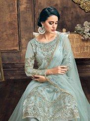 Turquoise Embroidered Net Pakistani Salwar Suit