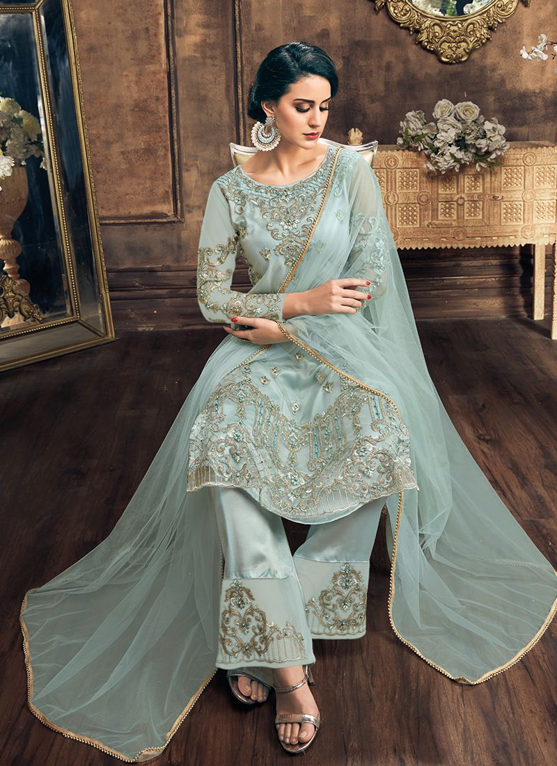 Turquoise Embroidered Net Pakistani Salwar Suit