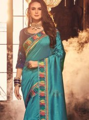 Turquoise Embroidered Silk Saree
