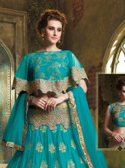 Turquoise Embroidered Trendy Lehenga Choli