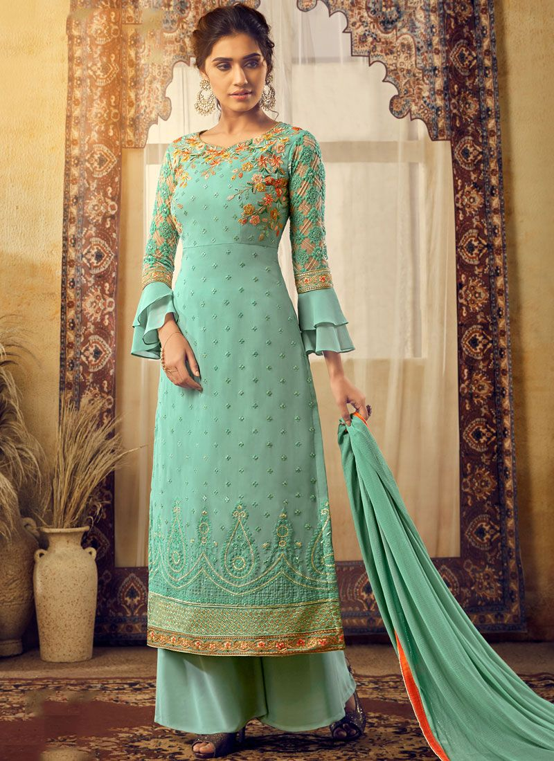 Turquoise Embroidered Trendy Palazzo Suit