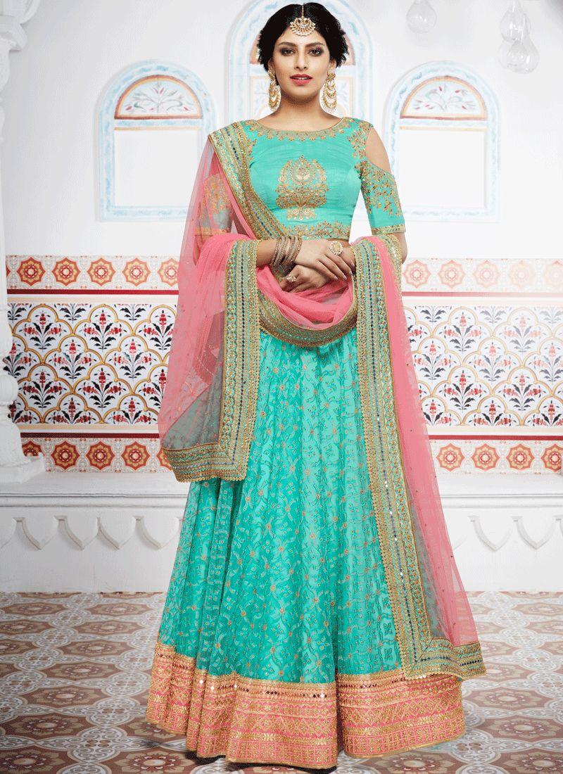 Turquoise Embroidered Work Net Lehenga Choli